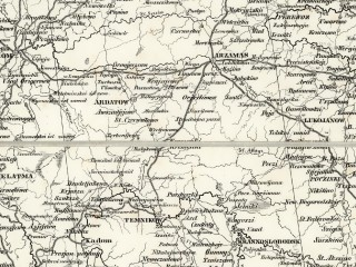 Военно-дорожная карта России и сопредельных стран Шуберта. 1837 г. (фрагмент)