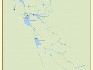 Карта-схема бассейна рек и ручьёв, питающих выксунские пруды