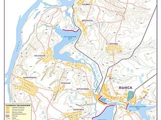 Окрестности Выксы - карта рельефа
